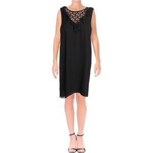 Aqua Black Lace Inset Above Knee Shift Dress S